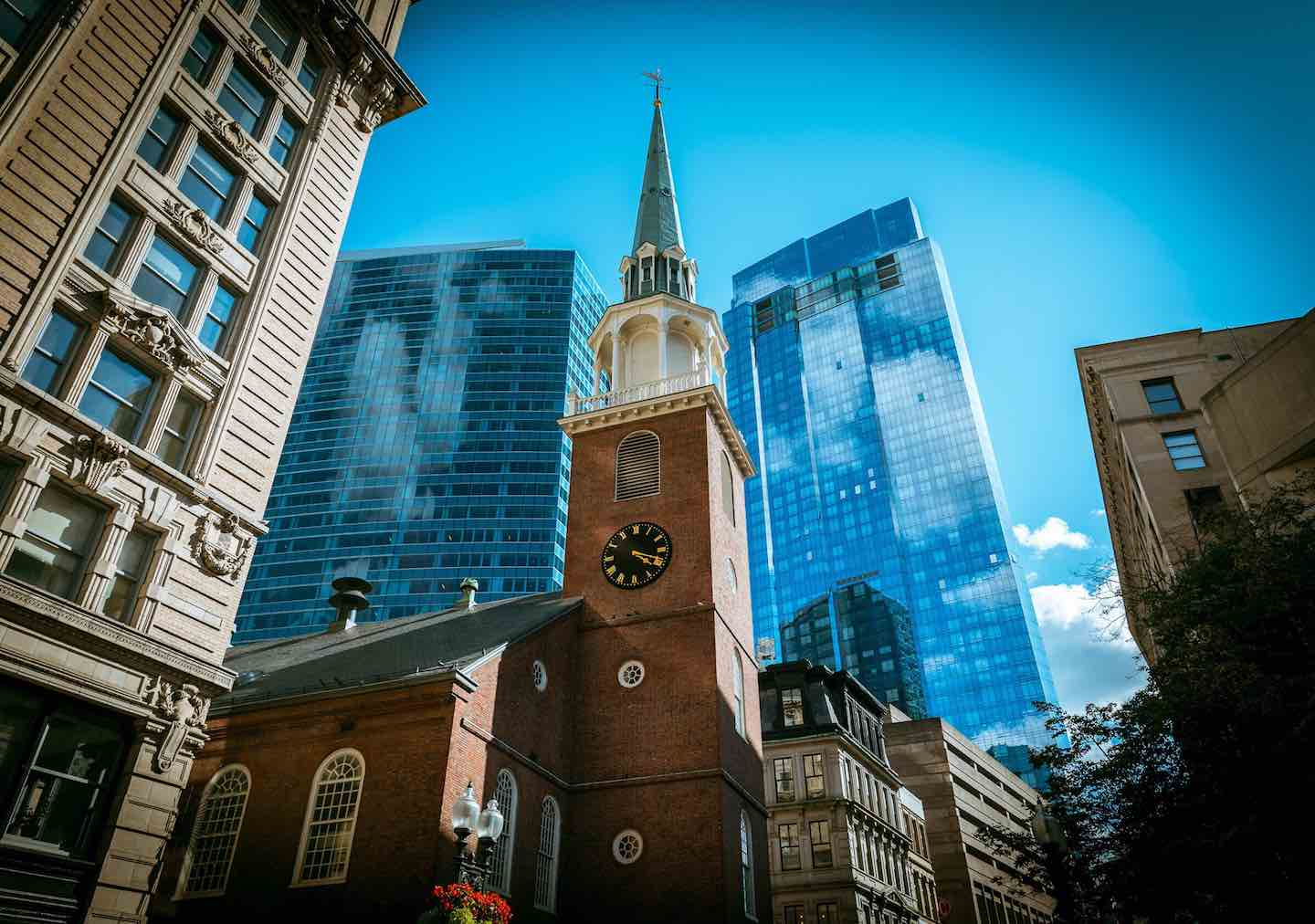 Boston church city view