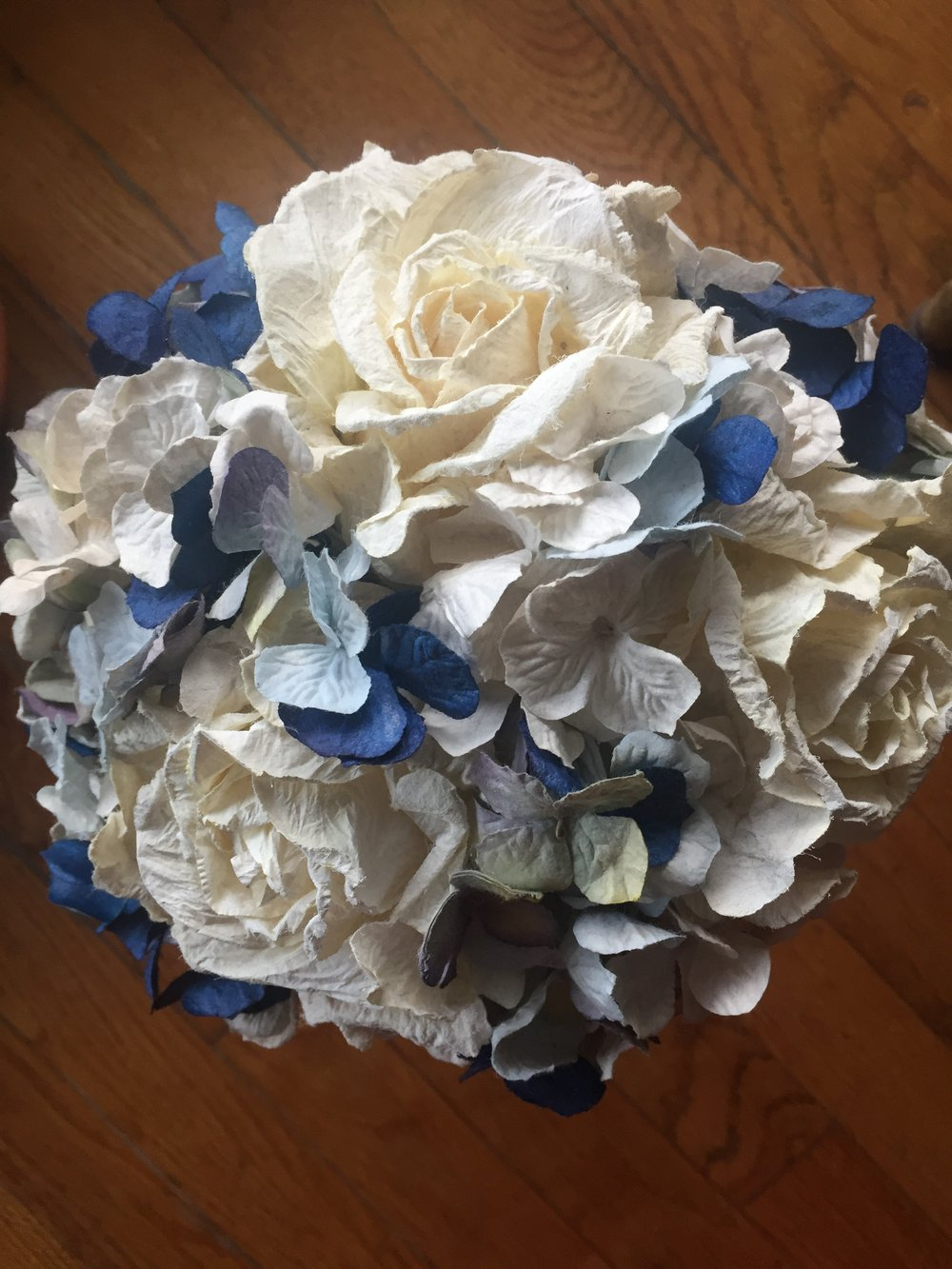 wedding paper bouquet of blue and white silk flowers