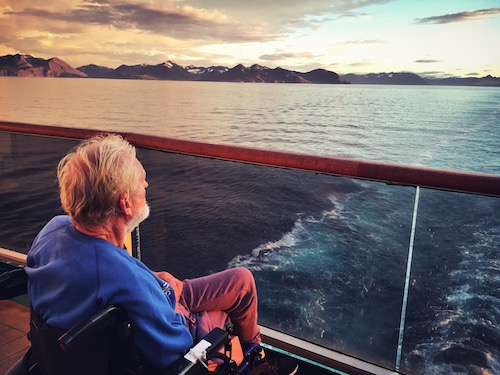 elderly man in wheelchair on icelandic cruise
