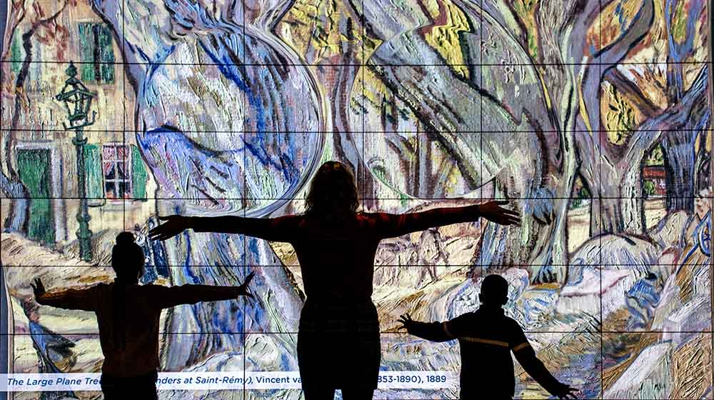 silhouettes of people interacting with digital display