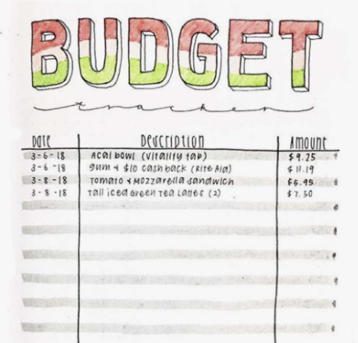 bullet journaling with budget