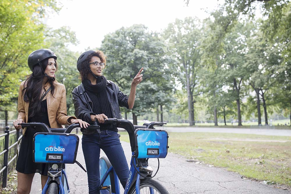 friends in central park on Citibikes