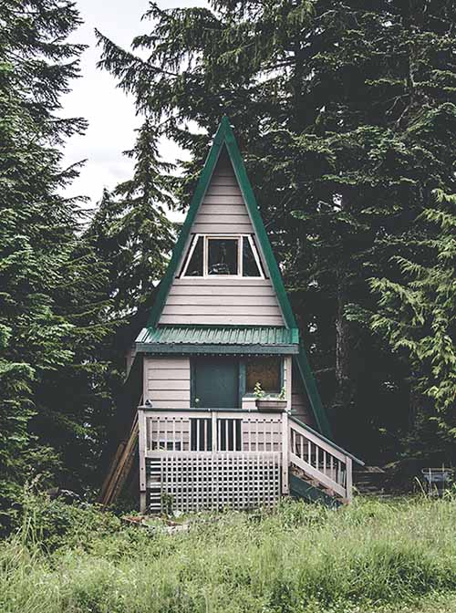 white and green house in the middle of the woods