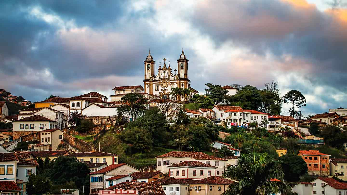 Cathedral on top of a hill in Minas Gerais state, Brazil