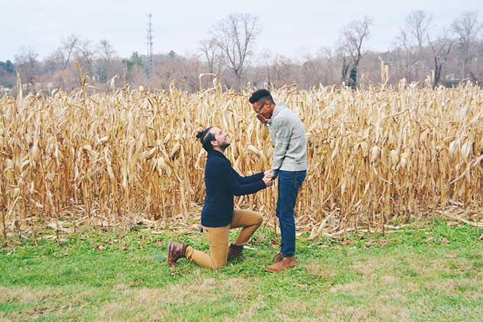 Man proposes to boyfriend on the grass in a field