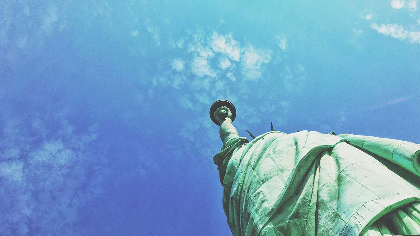 View of the Statue of Liberty from the ground, looking up