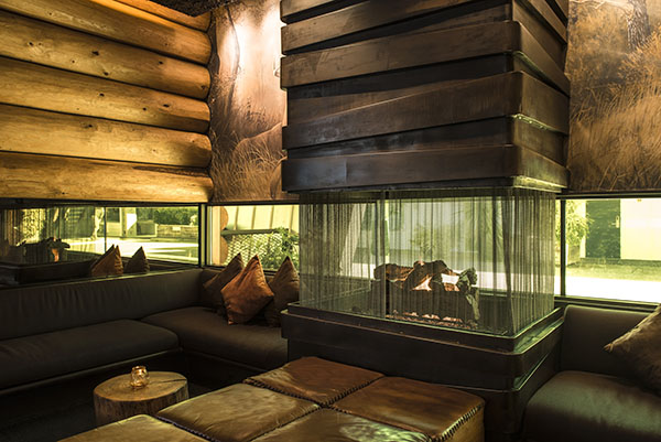 Fireplace and seating at the Doug Fir Lounge