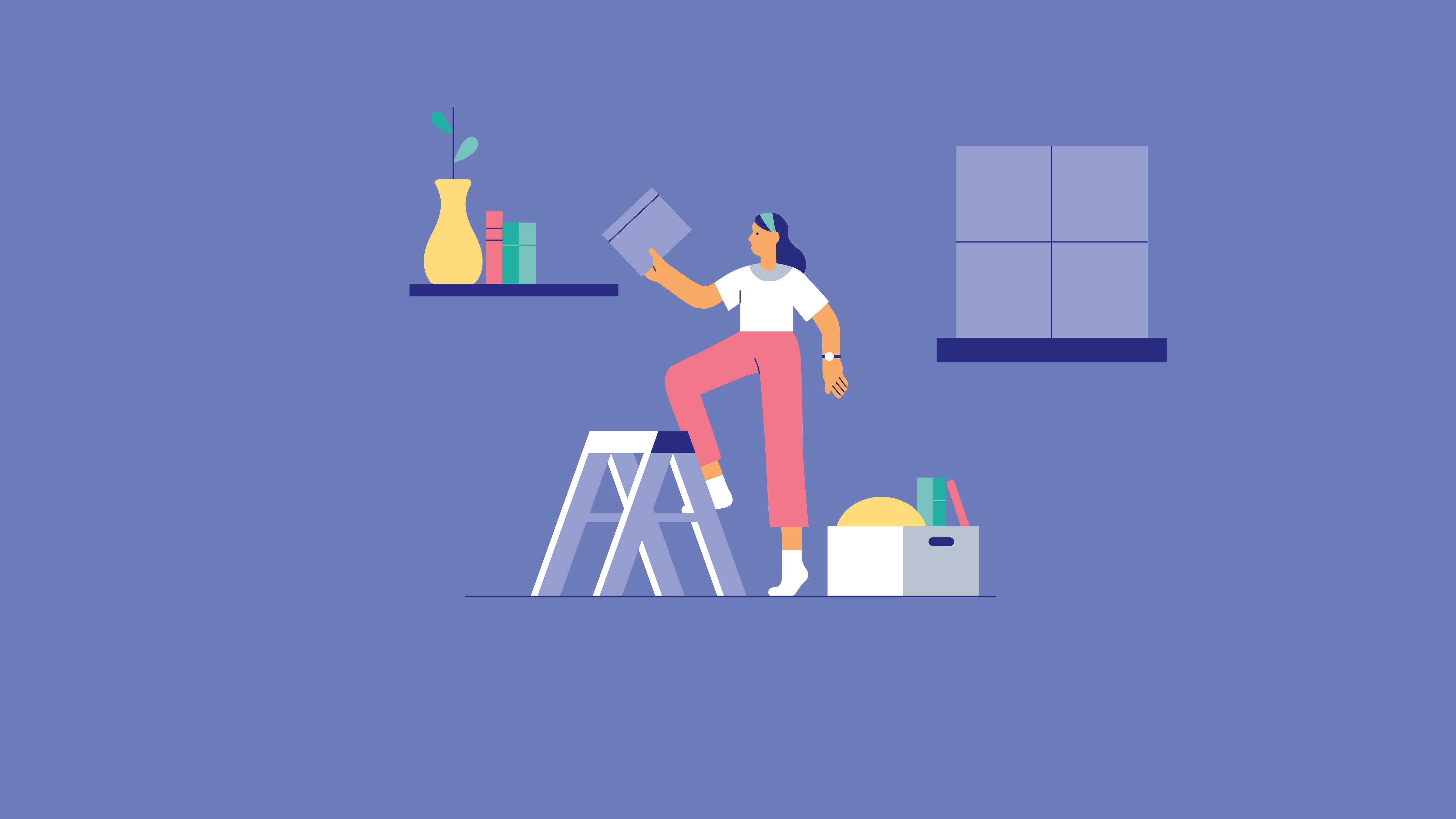 Illustration of a woman on a step ladder putting a book on a shelf. There is a box of other items on the floor. Visual is depicting the concept of organization and putting things away.