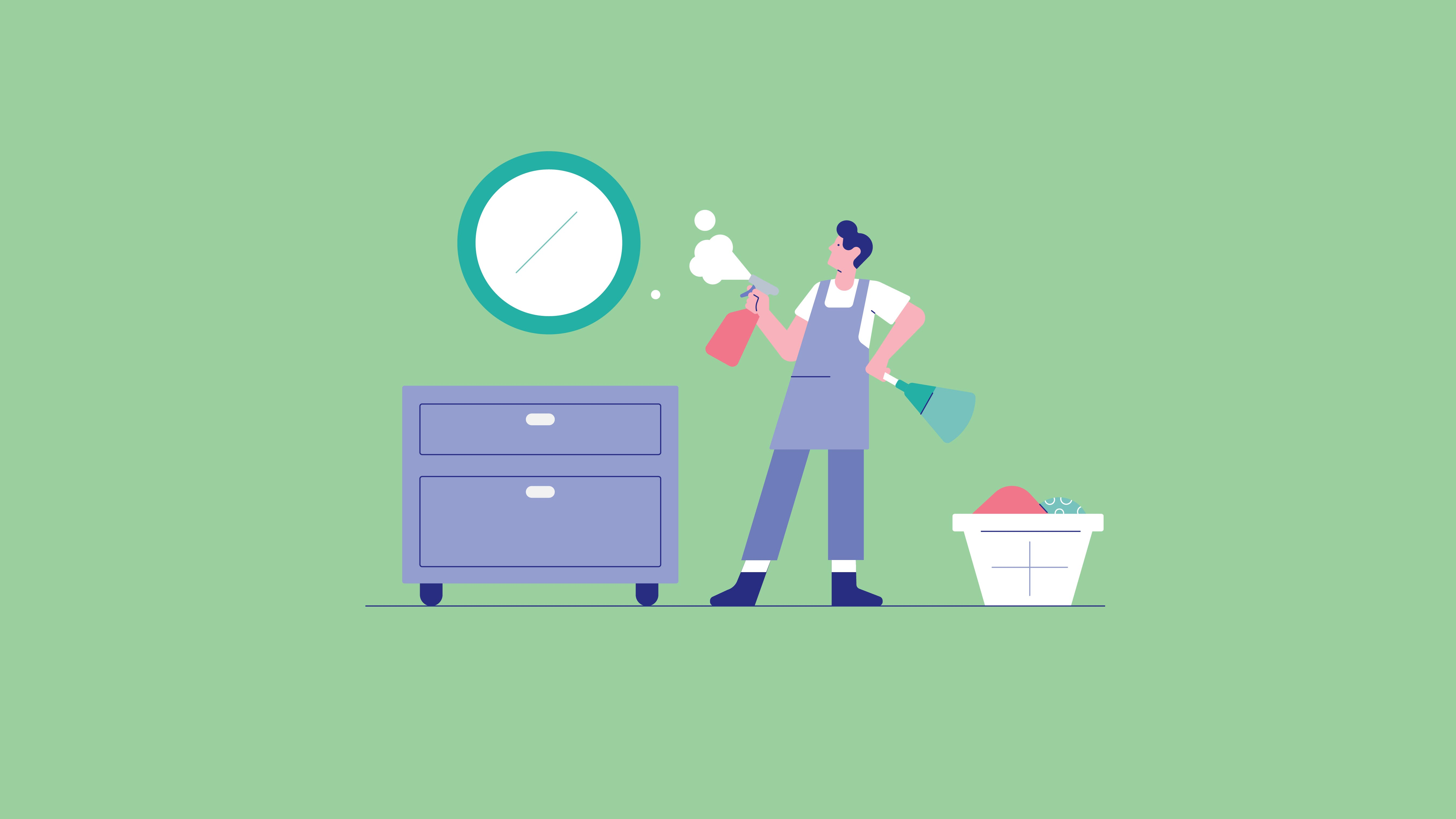 Illustration showing a man cleaning a mirror that sits above a dresser. There is a laundry basket next to him. Visual is depicting cleaning your overall space to create a more productive feeling environment.