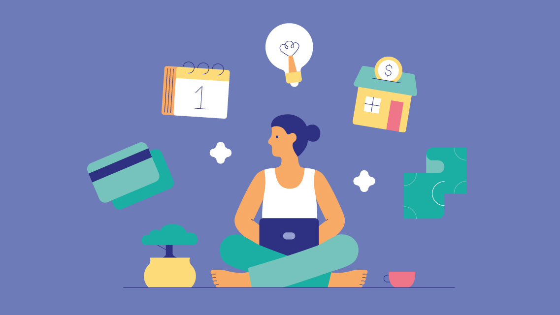 A metaphorical illustration meant to visualize a woman reflecting on her budget. She sits with her legs crossed and there is a bonsai tree, credit cards, a calendar, a light bulb, a house and money floating around her.